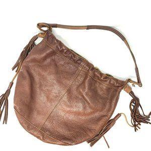Lucky Brand Slouchy Cognac Leather Tassel Hobo Bag